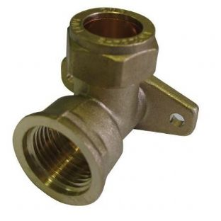 "15mm x 1/2"" compression fitting Wall plate elbow Female iron (Bag of 10=£20.52)"